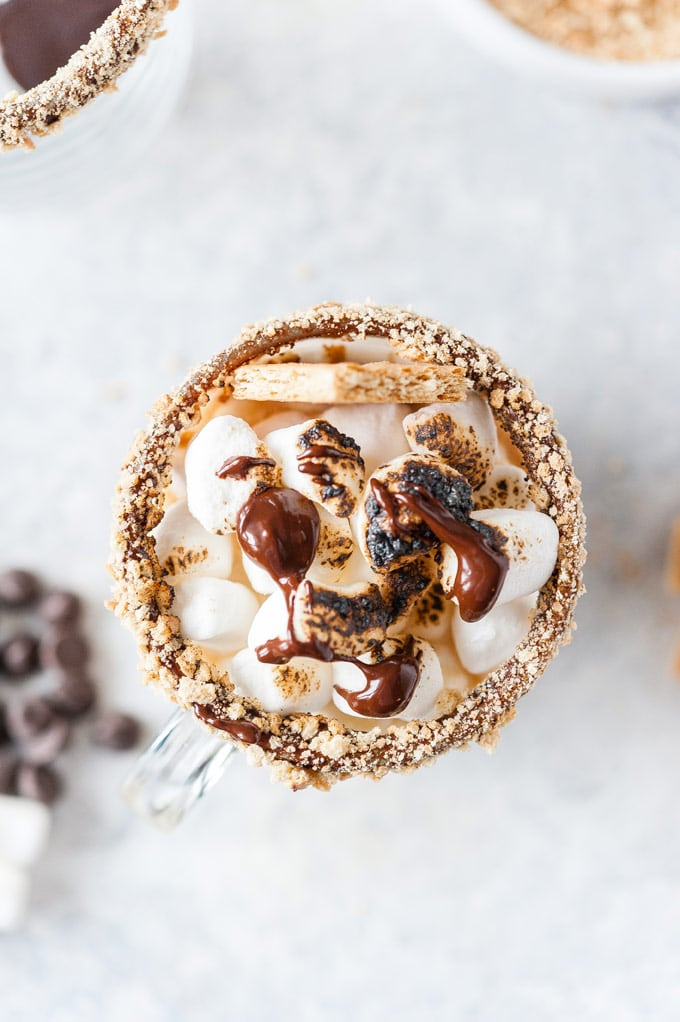 Top down view of a mug with Instant Pot S'Mores Latte.