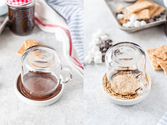 Collage of process photos showing how to dip a mug into chocolate and graham crumbs.