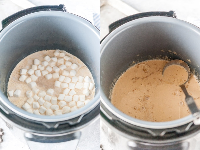 Collage of process photos showing how to make S'Mores Latte in Instant Pot.