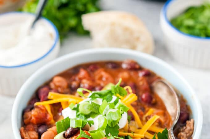 Closeup of a bowl of Instant Pot Chili.