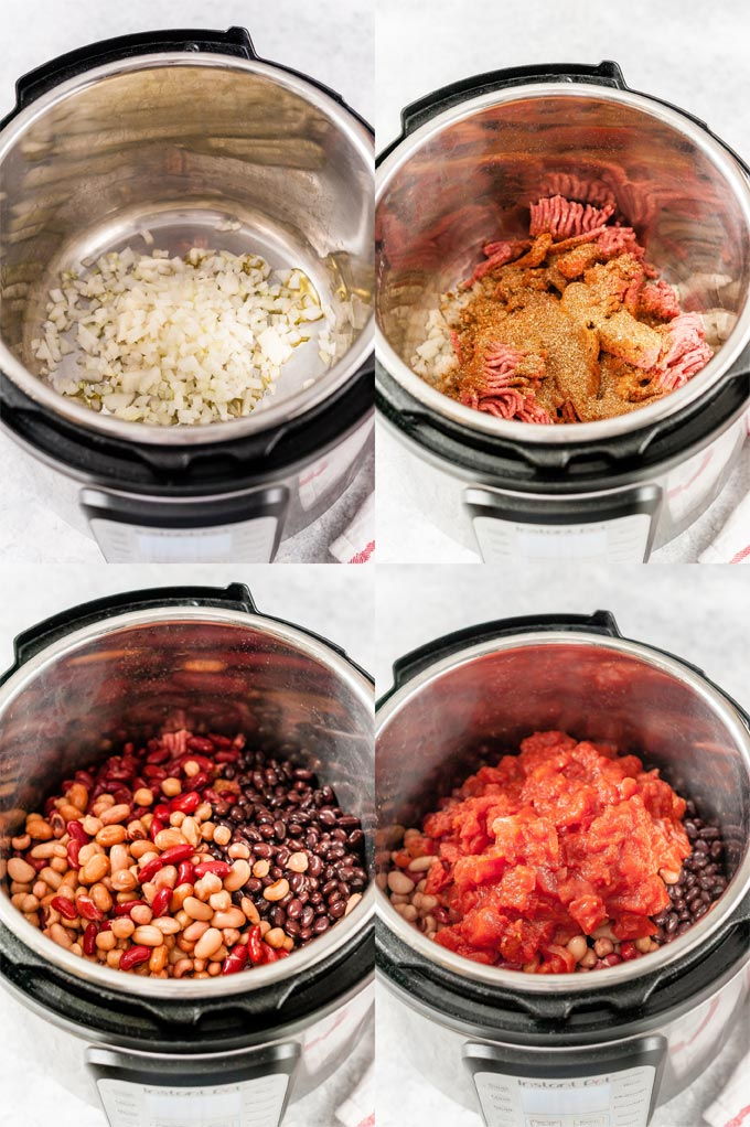 Collage of process shots showing how to make Instant Pot Chili.