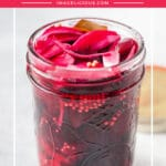 These Refrigerator Pickled Beets are really quick and easy to make. They are delicious and have a great sweet and tangy flavour. Perfect to add to a charcuterie platter, salads, or sandwiches | imagelicious.com #pickles #beets #pickledbeets
