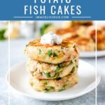Potato Fish Cakes are delicious and healthy. They are great hot or cold and perfect for meal prepping. Eat on their own as an appetizer or as a main course with a side of salad | imagelicious.com #potatocakes #fishcakes #glutenfree