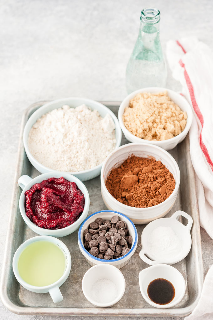 All the ingredients to make Vegan Chocolate Beet Cake.