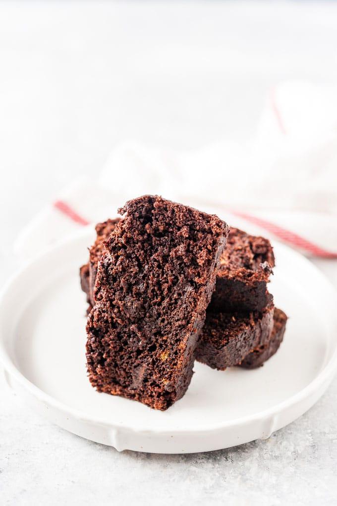 Closeup of a slice of chocolate cake.