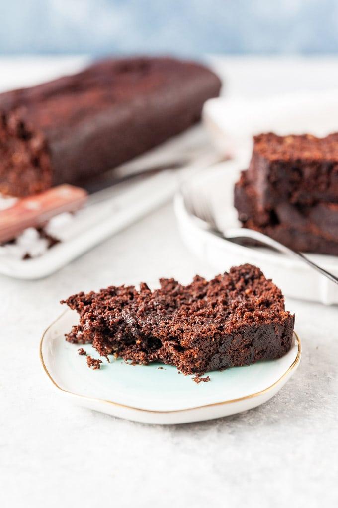 Slice of vegan chocolate beet cake on a plate.