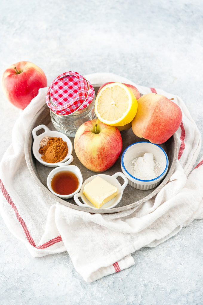 All the ingredients to make Apple Pie Filling in Instant Pot.