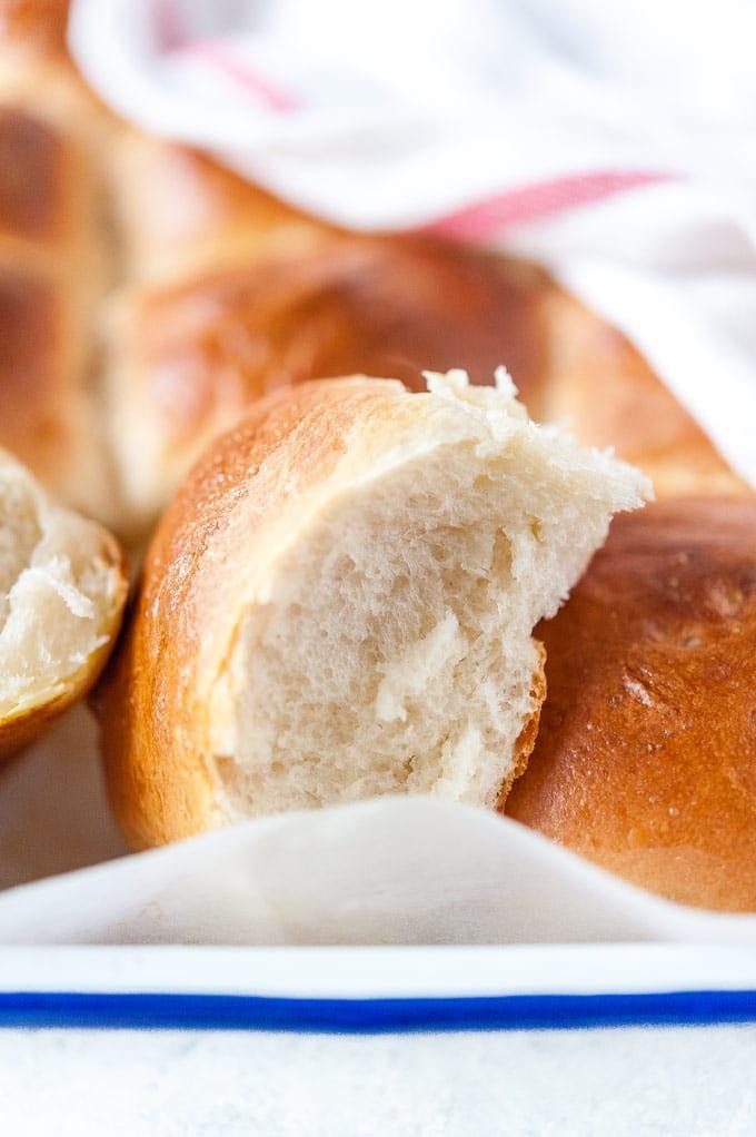 Closeup of a dinner roll.