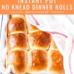 Instant Pot No Knead Dinner Rolls will be the star of any meal. They are feathery light, buttery, and soft. Perfect for sandwiches or an accompaniment to a roast. Easy to make without a mixer. They require no kneading and rise in your electric pressure cooker | imagelicious.com #InstantPot #InstantPotBread #bread #dinnerrolls #noKneadBread