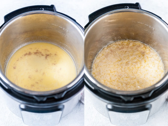 Collage of process photos showing how yeast foams in Instant Pot.