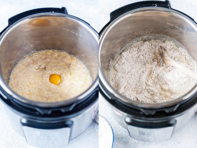 Collage of process photos showing how the dough is mixed in Instant Pot.