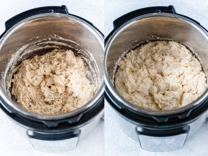 Collage of process photos showing the no knead dough before rise and after rise in Instant Pot.