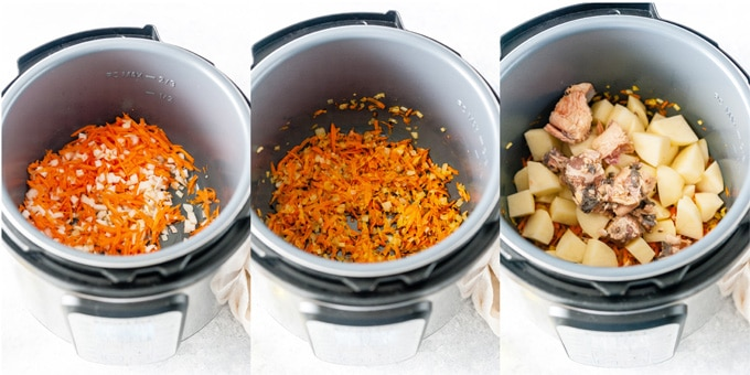 Collage of process photos showing how ingredients for the soup are added to Instant Pot.