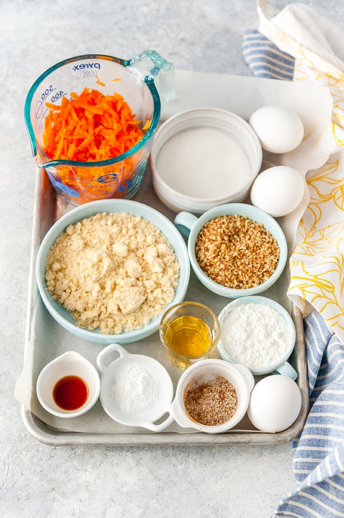 All the ingredients to make carrot cake roll.