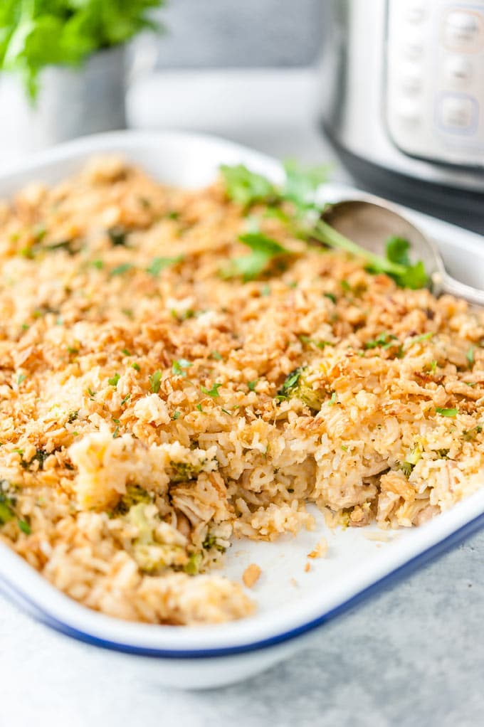 Roasting pan with chicken and rice casserole.