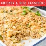 Instant Pot Chicken and Rice Casserole is a delicious weeknight meal that takes only minutes to pull together. Eat straight out of the pot or add your favourite toppings for a crunchy and creamy texture | imagelicious.com #instantpotrecipes #chickenrice #casserole