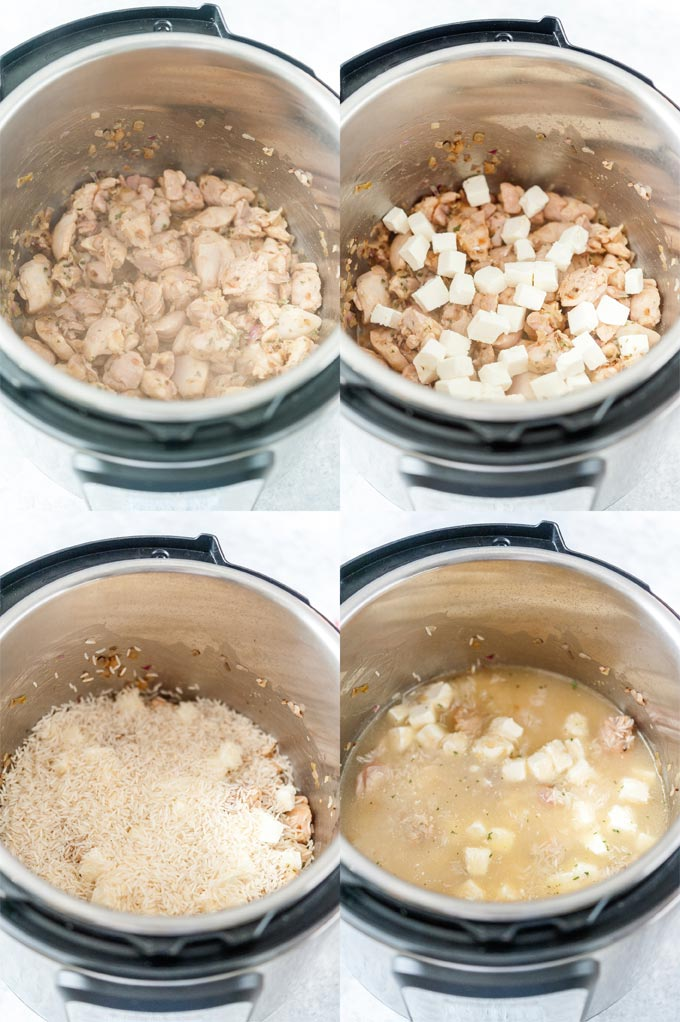 Collage of process shots showing how to layer the ingredient in Instant Pot.