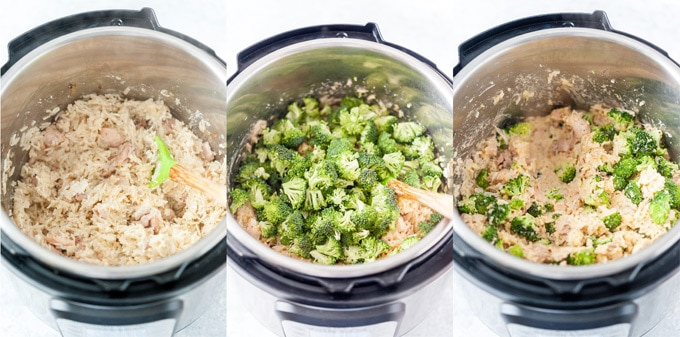 Collage of process photos showing how Chicken and Rice casserole looks in instant pot after cooking and mixing ingredients.