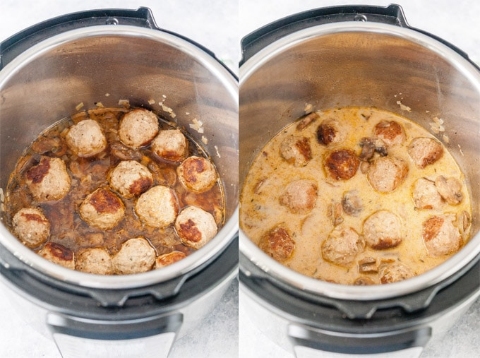 Collage of process photos showing meatballs in Instant Pot right after cooking and then after sauce is thickened.