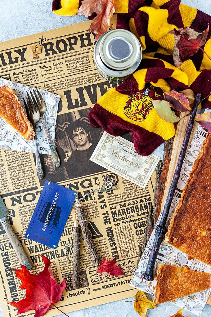 Treacle Tart and some Harry Potter memorabilia.