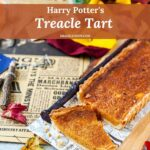 Treacle Tart is delicious, sweet, and very rich. It is surprisingly easy to make. It has a custard-like soft and caramel filling and delicious pastry. It is Harry Potter's favourite dessert and it'll become yours also | imagelicious.com #treacletart #harrypotter