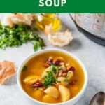 Bean and Potato Soup is delicious, hearty, healthy, and easy to prepare. You can make it in Instant Pot or on the stove. It is vegan and gluten-free. It is also very affordable as it is made with simple pantry ingredients | imagelicious.com #instantpotrecipes #vegan #glutenfree