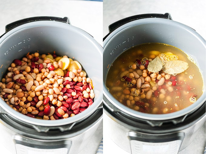 Collage of process photos showing ingredients for the soup in Instant Pot.