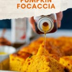 Instant Pot No Knead Pumpkin Focaccia is delicious and also super easy to make. Just mix everything together with a spoon, use Instant Pot to proof the dough, then bake. Perfect for holiday celebrations. It is also vegan | imagelicious.com #instantpot #noknead #ad