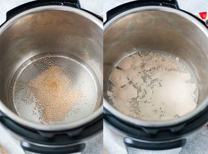 Collage of process photos showing how to proof yeast in water in Instant Pot.