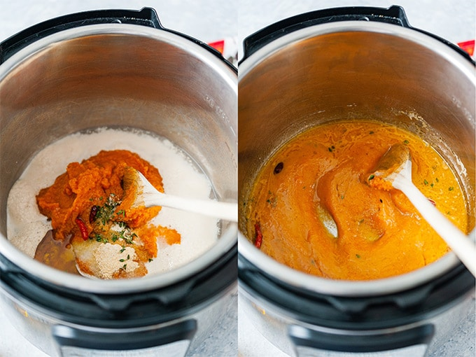 Collage of process photos showing all the wet ingredients for the focaccia being mixed.