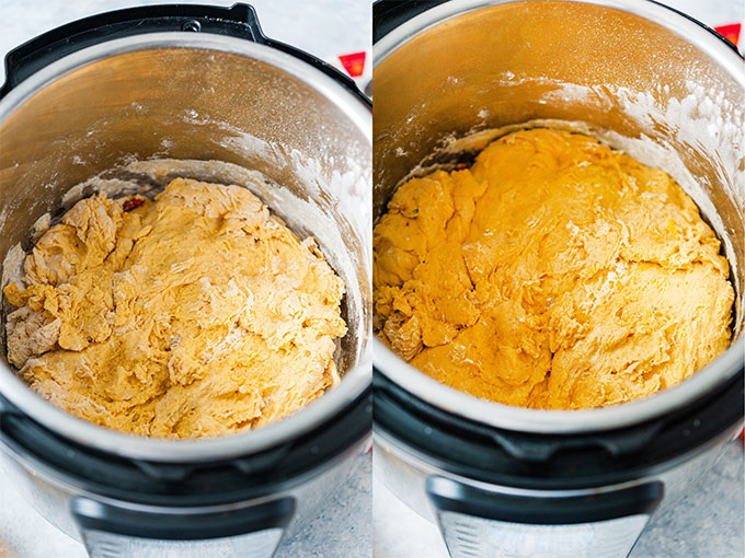 Collage of process photos showing no knead pumpkin focaccia dough in Instant Pot before and after proofing on yogurt function.