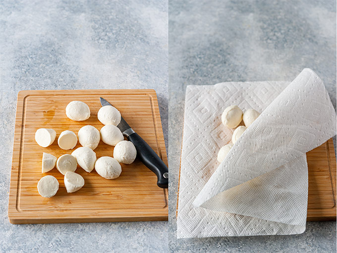 Collage of process photos showing how to cut and dry mozzarella balls.
