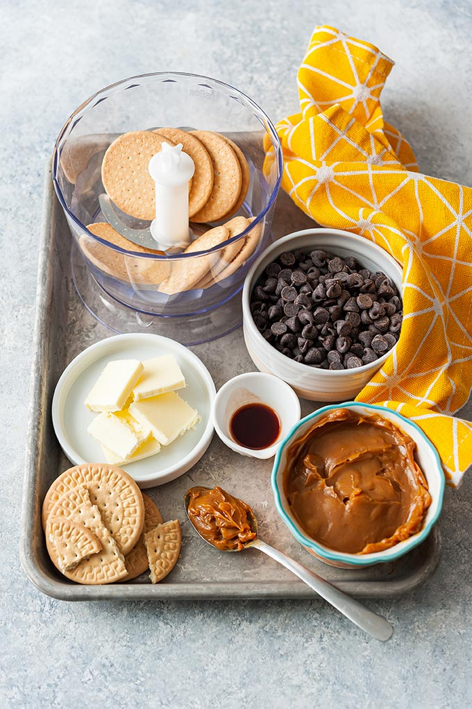 All the ingredients to make chocolate salami.