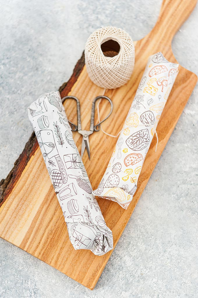 Chocolate salami wrapped in parchment paper.