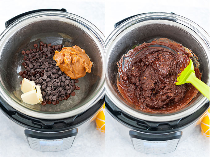 Collage of process photos showing how ingredients are melted in Instant Pot.
