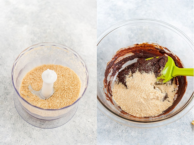 Collage of process photos showing cookie crumbs added to fudge.