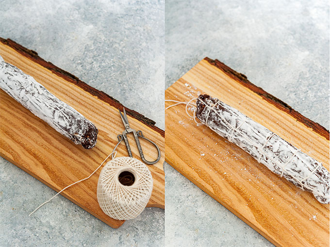 Collage of process photos showing chocolate salami that is tied with a string.